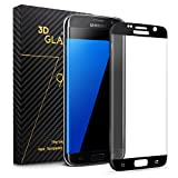 Ucharm 3D Curved Full Coverage Tempered Glass Screen Protector for Samsung Galaxy S7 Edge (1 Pack, Black)