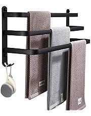 LNNB 1/2/3 lagen handdoekhouder zelfklevend of wandmontage handdoekhouder met dubbele haken - 2 kleine haken anti-roest handdoekenrek voor badkamer opslag accessoire drie lagen-60cm