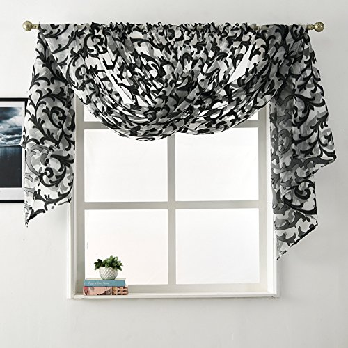 NAPEARL European Style Jacquard Sheer Curtain Panel Organza Fabric Window Scarf Valance (2 Panels: Each 52