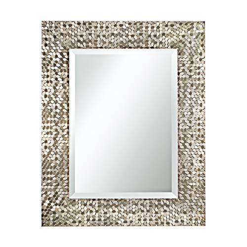 Mirror Trend Rectangular Wall Mirror with Champagne Mosaic Frame/1-Inch Premium Beveled Rectangle - Mirrors Framed Bathroom Yellow