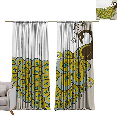 DESPKON-HOME Curtain for Kitchen Window,Animal Peacock with a Colorful Tail Design Bird of Sophistication Illustration Light Darkening Curtains (63W x 72L inch,Brown Sage Green Beige)