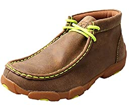 Twisted X Boys\' And Neon Yellow Leather Driving Mocs Bomber 5 D(M) US
