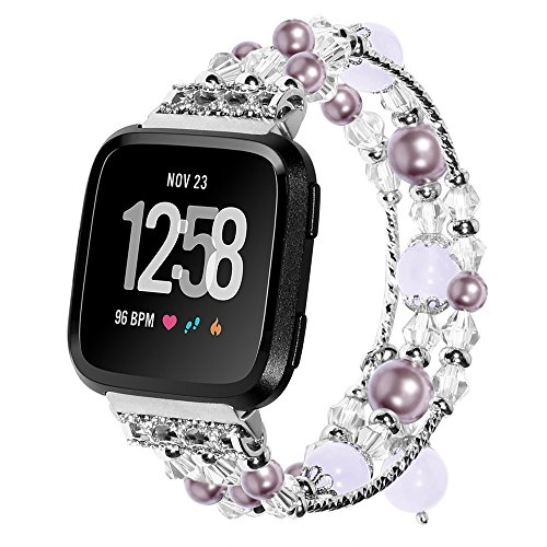 (Cywulin Replacement Bracelet Compatible with Fitbit Versa Elegant Bands Beaded Elastic Handmade Stretchy Pearl Jewelry Luxury Rhinestone Smart Watch Wristband Strap Accessories Women Girls (Purple))