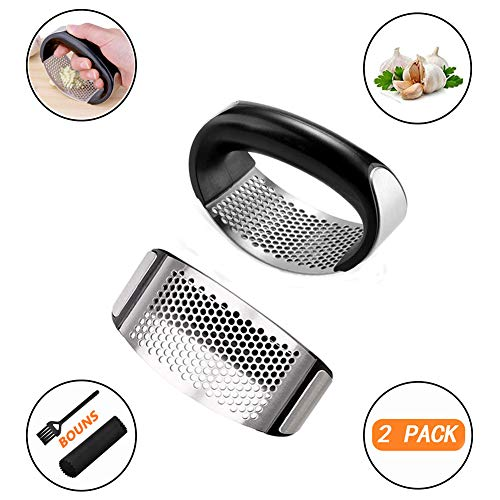 2 Pack Garlic Press Rocker Stainless Steel Garlic Ginger Crusher Squeezer Slicer Mincer Chopper Kitchen Gadget With Peeler Tool Set Including Silicone Roller Peeler,Cleaning Brush, Dishwasher safe