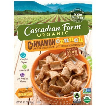 Cascadian Farm Organic Cinnamon Crunch Cereal, 9.2 Ounce -- 10 per case.