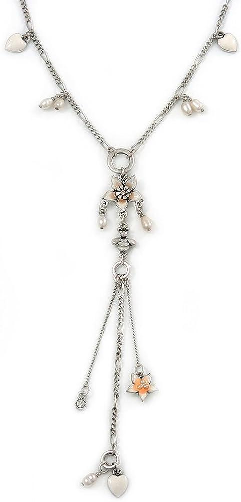Retro inspirada en blanco esmalte forma de corazón, de perlas, colgantes de flores collar con colgante en forma borla de largo en tono plateado - 36 cm L/5 cm Ext