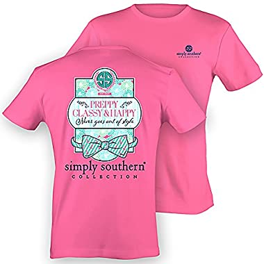 Simply Southern Women's Preppy Classy Happy Pink L