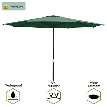 13 Ft. Outdoor Patio Market Garden Table Umbrella 13 feet in Diameter, The Largest in The Market. US Delivery Green