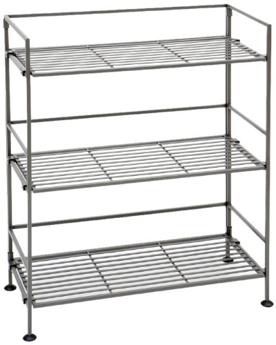 Seville Classics 3-Tier Iron Slat Tower Shelving, Satin Pewter - 3 Tier Metal Shelf