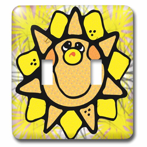 3dRose lsp/_202593/_2 Cute Country Smiling Sun Double Toggle Switch
