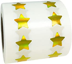 Gold Holographic Star Shape Stickers Teacher Supplies 0.50 Inch 1,000 Adhesive Labels