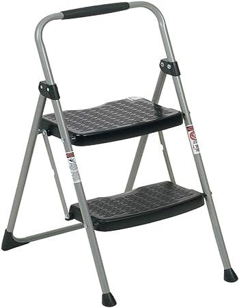 QQXX Escalera Plegable para el hogar, Escalera Gruesa de Hierro para Trabajos Pesados Escalera de Dos peldaños Taburete Negro, 45x53x87 cm: Amazon.es: Hogar