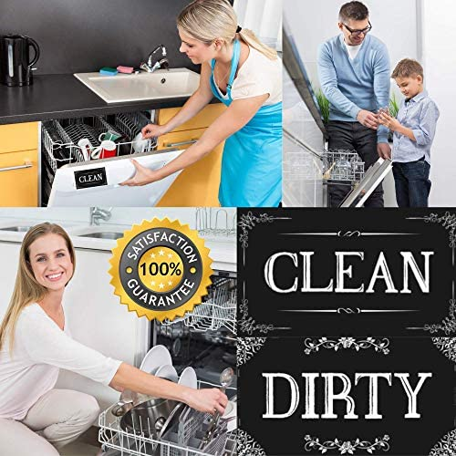 ENVIX Dishwasher Magnet Clean Dirty Sign Double Sided Magnet Flip with Magnetic Plate Kitchen Dish Washer Reversible Indicator Black Chalkboard