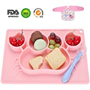 Silicone Placemat - Toddler Plate Divided 5 Compartments Portable Non Slip Suction Plates for Toddlers Babies and Kids BPA Free FDA Approved Baby Dinner Plate with Bonus 1pcs Waterproof Bib and Spoon