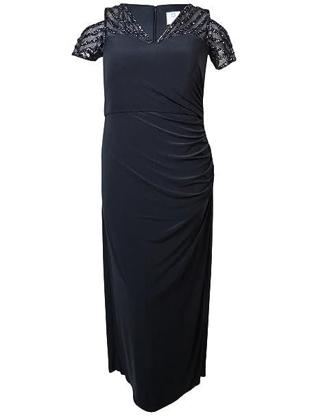 Patra Women\'s Embellished Illusion V-Neck Jersey Dress (16W ...