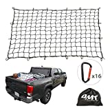 """Cargo Nets for Pickup Trucks, 4'X6' Latex Cargo Net Stretches to 8'x12', Universal Heavy Duty Truck Bed Net,16 Tangle-Free D Clip Carabiners, 4""""x4"""" Mesh Holds Small Large Loads Tighter"""