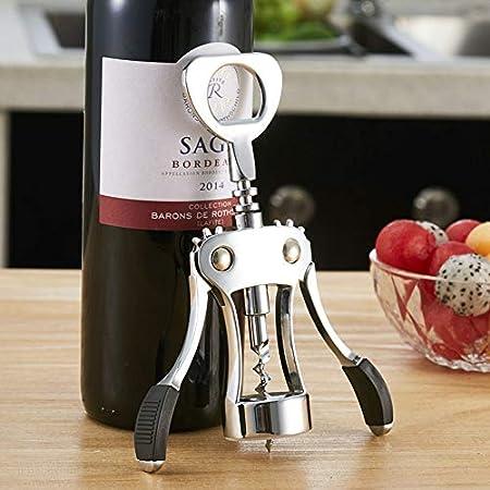 Gresunny abridor de botellas de vino multifunción sacacorchos vino de ala acero inoxidable abridor de vino con 2pcs tapones corkscrew de corcho abrebotellas de vino para camareros amantes del vino