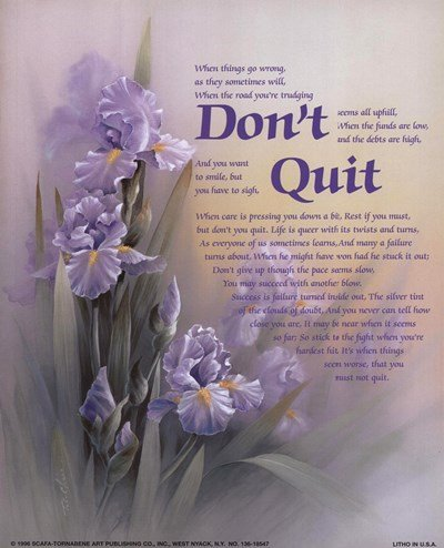 Don't Quit by T.C. Chiu - 8x10 Inches - Art Print Poster for sale  Delivered anywhere in USA
