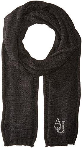 Armani Jeans Women's Knit Scarf With Logo, dark grey, One Size by ARMANI JEANS