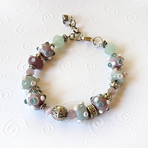 Green, Pink, Mauve Bracelet w Extender - Lavender, Mint and Silver Lampworked Beads & Mixed Metals Pandora Style, Handmade Beaded Clasp Bracelet - Gift for women, Mother's Day Gift, - Medium to Large