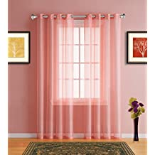 "Warm Home Designs Pair of 2 Longer Size 54"" (Width) x 95"" (Length) Coral (Orange Pink) Sheer Window Curtains. 2 Elegant Voile Panel Drapes are 108 Inch Wide Total - K Coral 95"""