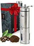 Manual Coffee Grinder - Conical Burr Coffee Grinder - Hand Coffee Grinder Gift Set - Adjustable for Fine/Coarse Grind, Perfect for French Press, Cold Brew & Pour Over - Burr Mill Coffee Grinder