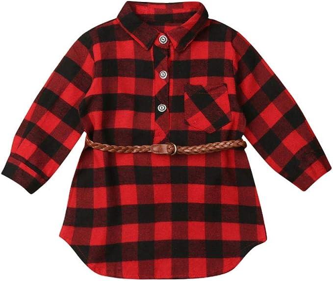Geagodelia Vestido de camisa para niña recién nacido, camiseta escocesa roja de manga larga, vestido navideño elegante y bonito, 0 – 5 años con ...