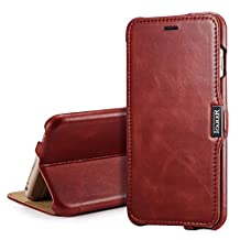 iPhone 6s Plus case,iPhone 6 Plus Leather Case, [Retro Series] Stand Feature iPhone 6 plus Flip Case 100% HANDMADE [Genuine Leather] With [Card Slot] [Magnetic Closure] Slim Folio Case Cover For iPhone 6s Plus, iPhone 6 Plus (5.5 only) (MM558) (Wine Red)