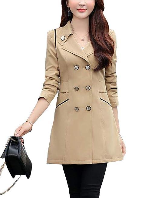 Classic Pink Donna Doppio Petto Risvolto Cappotto Trench Giacca Maniche  Lunghe Jacket  Amazon.it  Abbigliamento ad117c70d3b