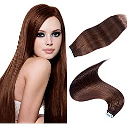 TOFAFA 16 Inch Tape On Hair Extensions Colored #4 Medium Brown Skin Weft Double Sided Tape In Extensions Remy Human Hair 20Pieces 40g/Pack
