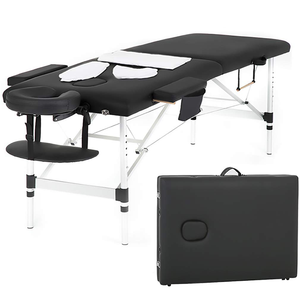 Massage Table Massage Bed Spa Bed 73 Inch Massage Table W Face Cradle Carry Case Height Adjustable 2 Fold Portable Aluminum Facial Salon Tattoo Bed