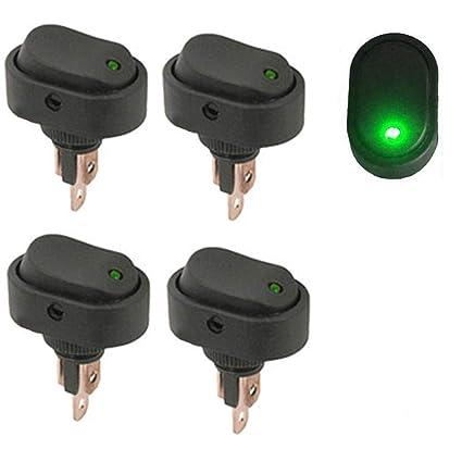 12 V interruptor basculante 4 interruptores para el coche Qiorange interruptor de encendido y apagado con indicador LED verde 30 A