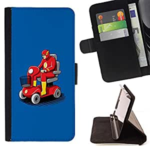 Momo Phone Case / Flip Funda de Cuero Case Cover - Transporte Flying Car Roja - Motorola Moto E ( 2nd Generation )