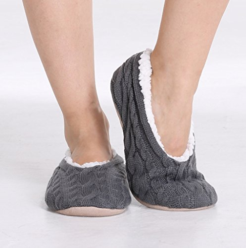 Pembrook Ladies Cable Knit Slippers – Ballet Style with Non-Skid Sole - Plush Slip On House Slippers for Adults,...