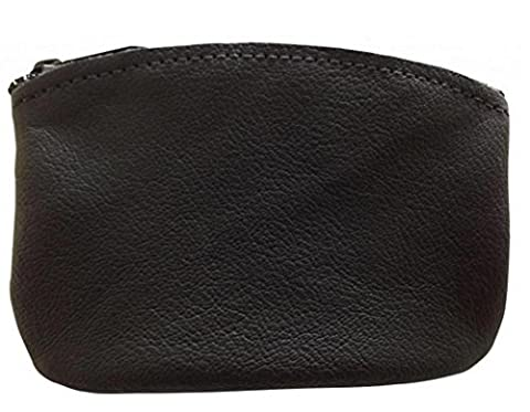 Classic Men's Large Coin Pouch, Genuine Leather, Zippered Coin Purse With Key Ring By Nabob Leather, Black