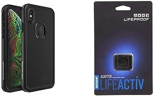 Lifeproof FRE Series Waterproof Case for iPhone Xs Max - Retail Packaging - Asphalt (Black/Dark Grey) & Lifeactiv Quickmount Adapter