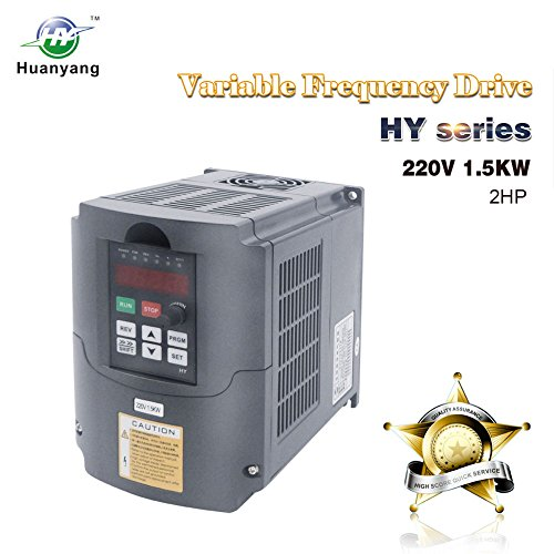 VFD 220V 1.5KW 2hp Variable Frequency Drive CNC Motor Inverter Converter for Spindle Speed Control HUANYANG HY-Series(1.5KW, 220V) ()