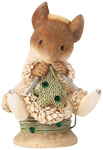 enesco heart of christmas gift mouse knitting star figurine 13 inch
