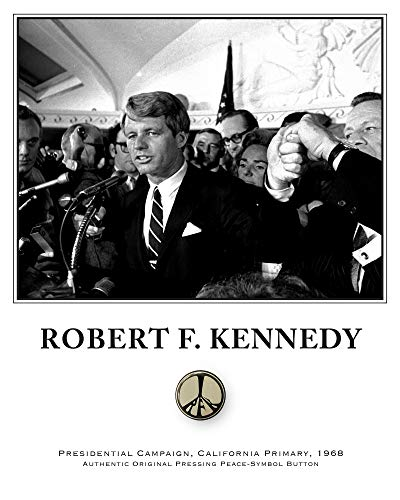 Robert F. Kennedy - Original Vintage RFK Peace Button - CA Primary Campaign 1968 from JG Autographs, Inc.