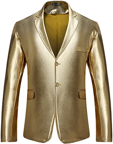 Blend Suit Jacket - Sportides Men's Slim Fit Casual Bling Shiny Two Button Blazer Jacket Suits JZA128 Gold XL