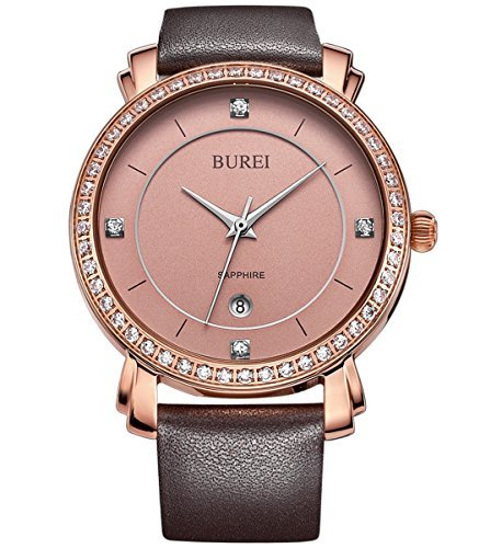 BUREI Women's Classic Rose Gold Wrist Watches Sapphire Lens with Brown Genuine Leather Strap