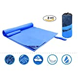 Microfiber Travel Sports 2 Packs Newild Towel (155 cm x 100 cm and 60 cm x 30 cm),Fast Drying Super Absorbent Antibacterial for Camping, Gym, Beach, Swimming,Bath and Yoga, With Suitable Mesh Bag (Color: Blue)