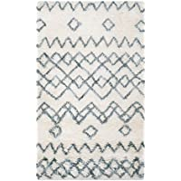 Safavieh Casablanca Shag Collection CSB806A Handmade Ivory and Blue Premium Wool & Cotton Runner (23 x 8)