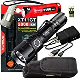 Klarus Upgraded XT11GT 2000 Lumens SUPER BUNDLE w/ XT11GT LED Compact Rechargeable Tactical Flashlight, 18650 Battery, USB Cable, Lanyard, Holster, Pocket Clip, Car & Wall Adapter, and USB Mini Light