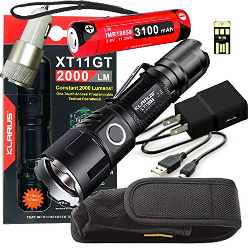 Klarus Upgraded XT11GT 2000 Lumens SUPER BUNDLE w/ XT11GT LED Compact Rechargeable Tactical Flashlight, 18650 Battery, USB Cable, Lanyard, Holster, Pocket Clip, Car & Wall Adapter, and USB Mini Light (Police Equipment Flashlight)