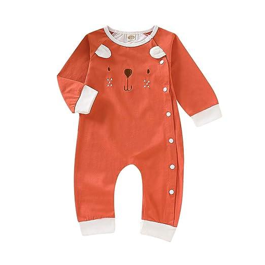 dce6f0e1a NUWFOR Newborn Infant Baby Boy Girl Cartoon Animal Cotton Romper Jumpsuit  Clothes (Orange,0