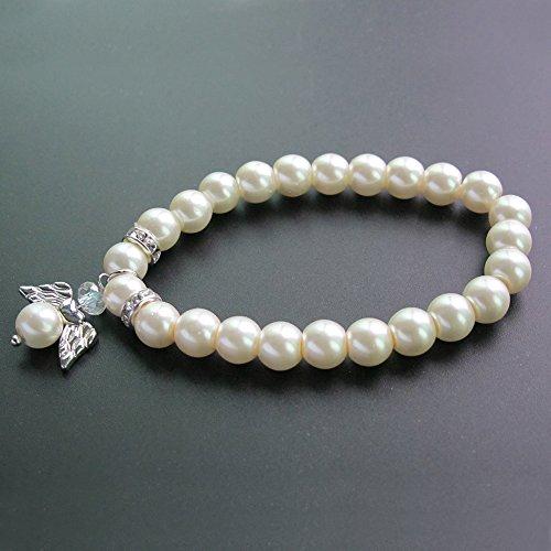 Glass Ivory Pearl Angel Bracelet Favor First Communion/Baptism/Christening/Baby Shower/Wedding /Mis Quince(12pcs pack)