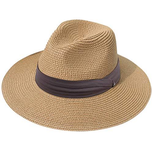 (Lanzom Women Wide Brim Straw Panama Roll up Hat Fedora Beach Sun Hat UPF50+ (Z-Light Coffee Ribbon Brown))