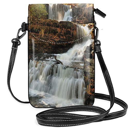 Women Small Cell Phone Purse Crossbody,Upper Falls At Delaware Water Gap Autumn Nature Forest Scenery ()