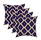 RSH Décor Set of 4 Indoor/Outdoor Square Throw Pillows (17''x17'') American Patriotic Geometric, Red, White and Blue